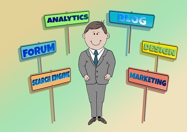 Man standing with signs saying forum analytics blog design marketing and search engine