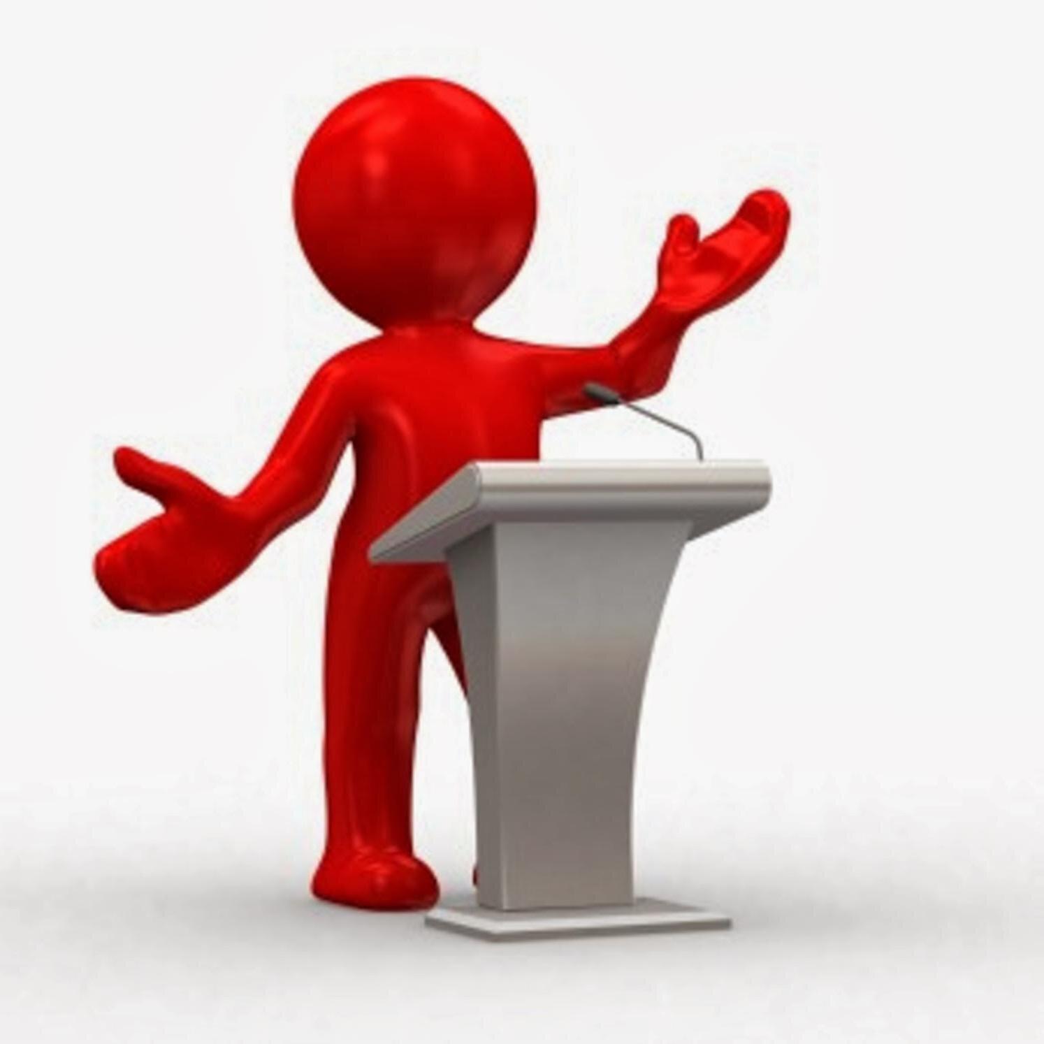 Red statue public speaking