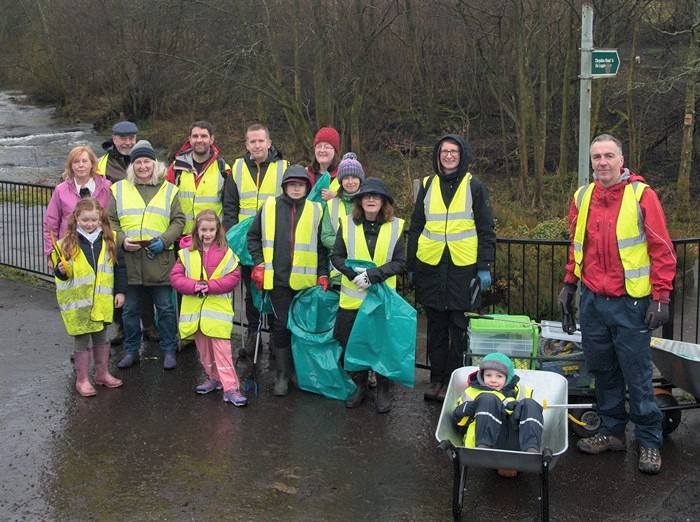Group of litter pickers with equipment